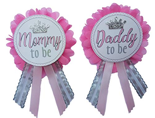 Daddy to Be Pin Princess Mommy to Be Baby Shower dad to wear at Baby Shower, Pink & Silver, It's a Girl, Baby Sprinkle (Daddy To Be Corsage)