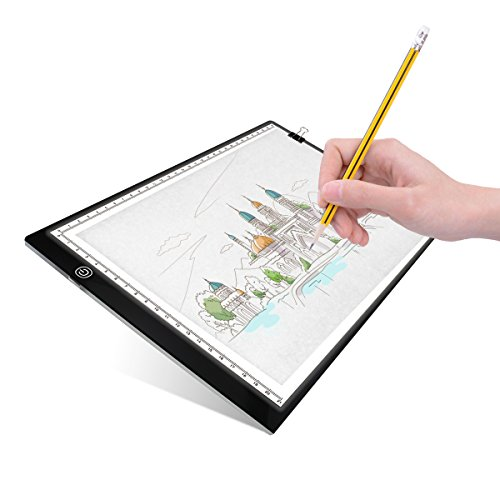 UKON A4 LED Light Box Drawing Light Pad Art Tracing Xray Light Board for Tracer Kids Artists Diamond Painting with Dimmable Brightness for Embroidery Sketching Animation Stenciling (A4) by UKON