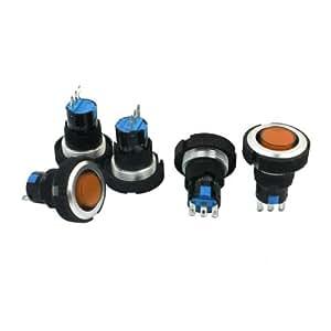 Sanweller(TM) 22mm Thread Panel Mount 3Pin Soldering Locking Push Button Switch 5 Pcs