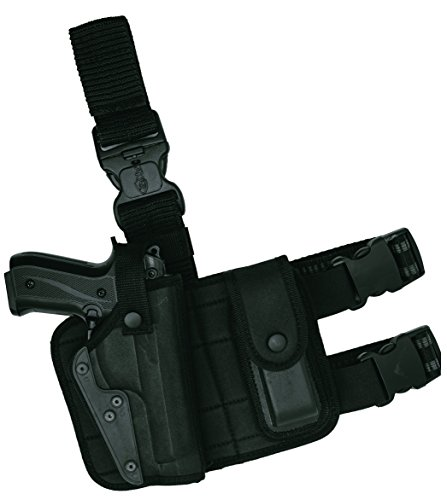 Akar Tactical Pistol Gun Drop Leg Thigh Holster W/Magazine Pouch Right Hand for For S&W M&P Shield - GLOCK 17 19 22 23 32 33/Springfield XD & XDS/Plus All Similar Sized Handguns (Cz 75b Best Price)
