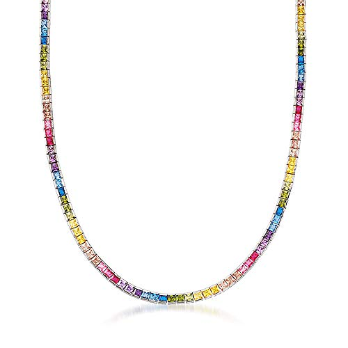 Ross-Simons 20.00 ct. t.w. Rainbow CZ Tennis Necklace in Sterling Silver