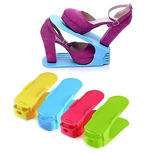 ONEDONE Shoe Slots Organizer Adjustable Shoes Holder Rack Space Saver for Closet 4PCs/Set
