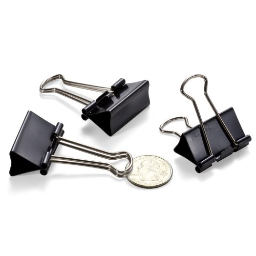 Officemate Medium Binder Clips, Black, 12 Boxes of 1 Dozen Each (144 Total) (99050) Photo #2