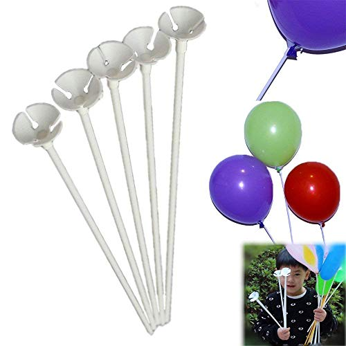 Balloon Sticks 72 Pieces White Plastic Balloon Sticks with Cup Party Decoration, Carnival Fun -