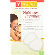 Ameda Noshow Premium Disposable Nursing Pads 50-Count, Helps Prevent Breast Milk Leaks Onto Clothing, High-Absorbency Disposable Nursing Pads, for Single Wear Use, Discreetly Fits into Most Bra Styles