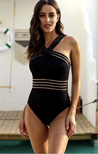 Hilor Women/'S One Piece Swimwear Front Crossover Swimsuits Hollow Bathing Suits