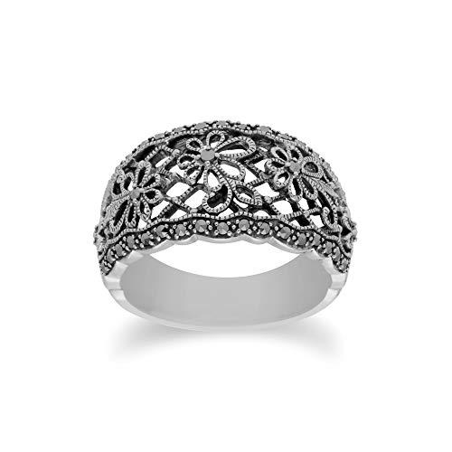 Gemondo USA 925 Sterling Silver Marcasite Art Nouveau Ring (8)