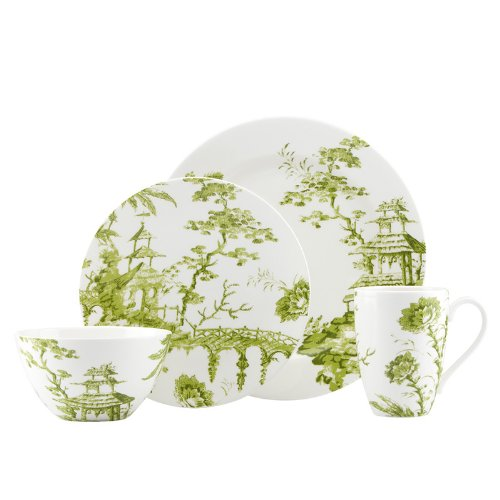 SCALAMANDRE BY LENOX TOILE TALE CHARTREUSE Accent plates set of -