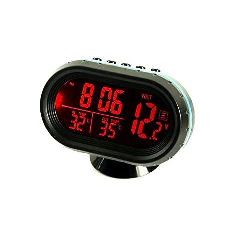 3 In 1 Car Red Digital Display LED Voltmeter Temperature Clock Meter Thermometer