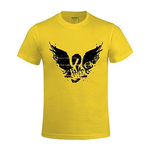 Timico Black Swan Logo Custom Round Neck Men T Shirt Yellow