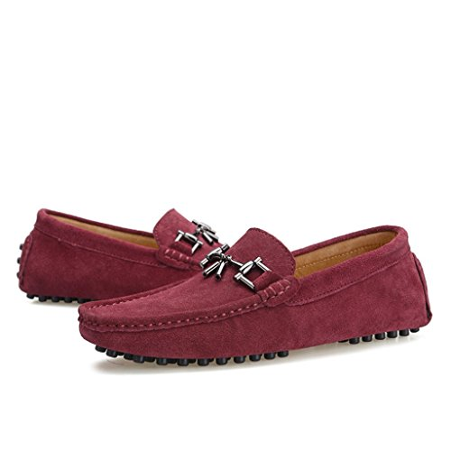 Designer Buckle Red Boat Drving Loafers Wine Mens Shoes Suede TDA New 1pFqSwMxMB