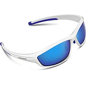 Torege Polarized Sports Sunglasses For Man Women Cycling Running Fishing Golf TR90 Unbreakable Frame TR034 (White&blue tips&Blue lens)