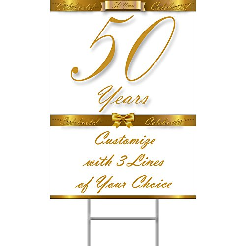 (Partypro 50 Years Classy Gold Yard Sign)