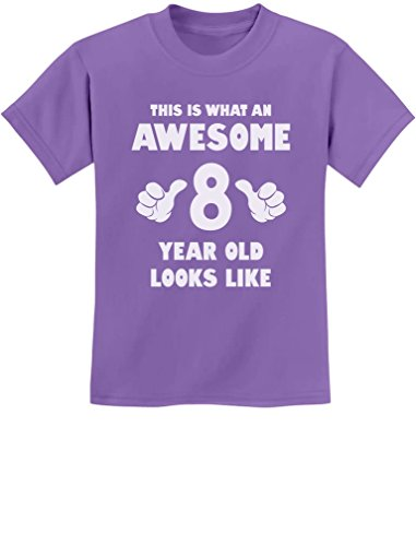 This is What an Awesome 8 Year Old Looks Like 8th Birthday Youth Kids T-Shirt Medium Violet -