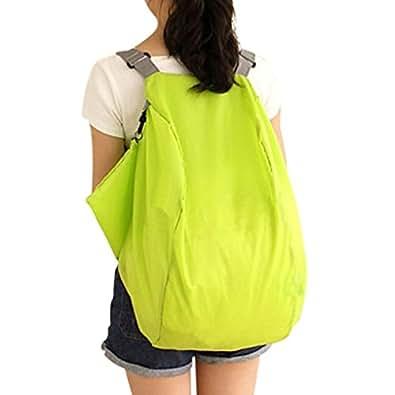 WITERY 2 Way Use Nylon Crossbody Foldable Travel Shoulder Storage Bag Handbag Backpack Green