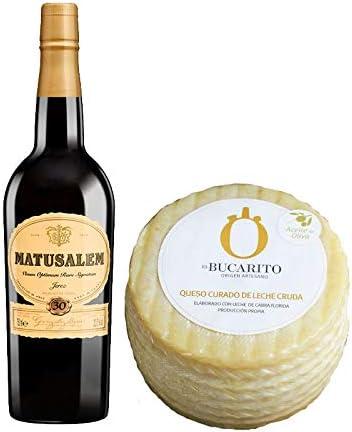 Pack de Vino Oloroso Dulce Matusalem y Queso Curado en Aceite Oliva de Leche Cruda - Vino de 75 cl y Queso de 900 g aprox - Mezclanza