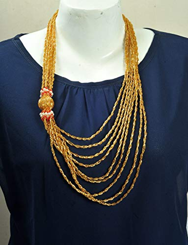 Seed Beads Multi-Strand Necklace Golden Handcrafted Czech Glass Beaded Strand - Beaded Necklace Czech