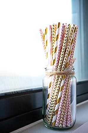Biodegradable Gold Pink Paper Drinking Straws Bulk, 100pcs Gold Pink Stripe  Wave Disposable Straws Environmental Friendly Party Supplies, Birthday,