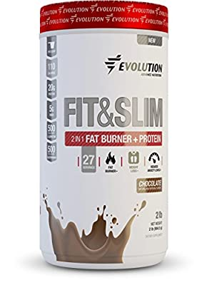 Evolution Advance Nutrition FIT & SLIM PROTEIN + FAT BURNER with only 100 CALORIES per serving. Whey Protein+fiber+Glucomanan+Chromium Picolinate. 2lbs 30 servings. Sweetened with Stevia!