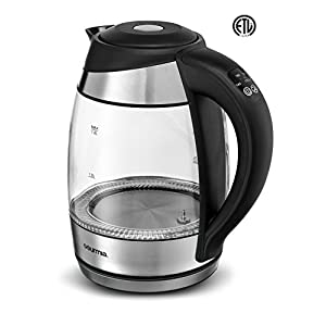 Gourmia GDK340 Glass Kettle - Rapid Boil LED Lights Change Color As Water Heats Up - 4 Presets - Handle Controls - 1.8L - 1500W - Glass- ETL Safety Listed