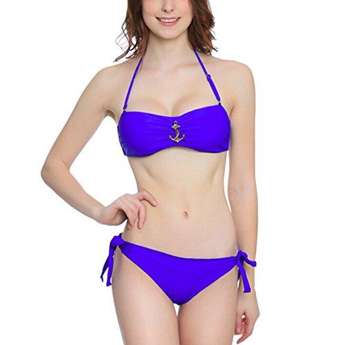 SOMMRY Bikini Set Push up Bademode Zweiteilige Schöne Neckholder Badeanzüge Frauen reizvolle Tankini Blau Mädchen Strand Schwimmanzug Oberteile und Höschen (Ohne Bügel)