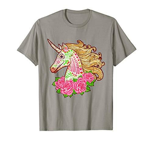 Day Of The Dead Unicorn Skull T-shirt Halloween