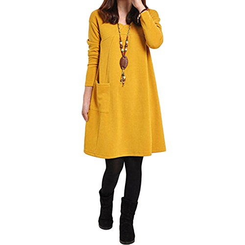 Chinese Knee Length Dress - Romacci Women Long Sleeve Dress Plus Size Pockets Knee LengthLoose Tunic Dress
