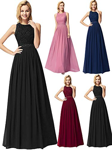 Ever-Pretty Women Elegant A Line Long Pleated Prom Dress with Lace Bodice 16US Black ()