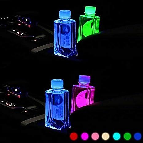 Gymoning 2Pcs LED Car Cup Holder Lights 7 Colors LED Changing USB Charging Mat Car Interior Decor