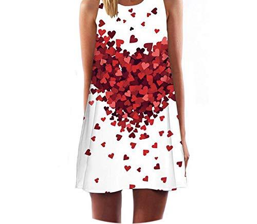 Women Summer Dress Casual Beach Dress Floral Print Tunic Sleeveless Short Dress,Picture Color20,XL