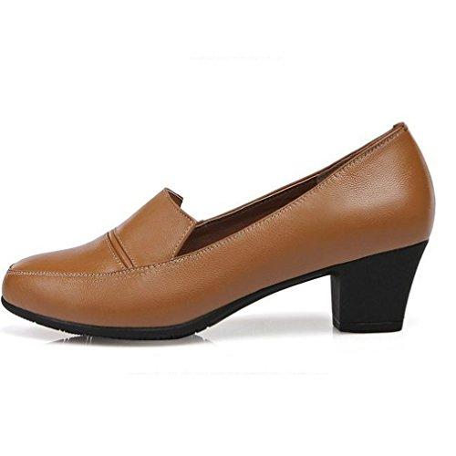 de Mujeres Zapatos Cabeza Xianshu Simple Cuero de Cuero de de Zapatos Zapatos Marrón Redonda de Cuero Trabajo de Tacón Superficial bajo FESqqw