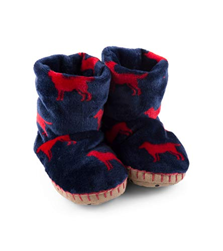 Hatley Boys' Toddler Fuzzy Fleece Slouch Slippers, red Labs Small (5-7 US Kids Shoe Size) -