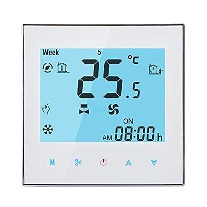 Termostato del aire acondicionado de habitación programable de 2 tubos para unidad Fan Coil y Pantalla LCD, Soporta Wifi (Negro): Amazon.es: Hogar