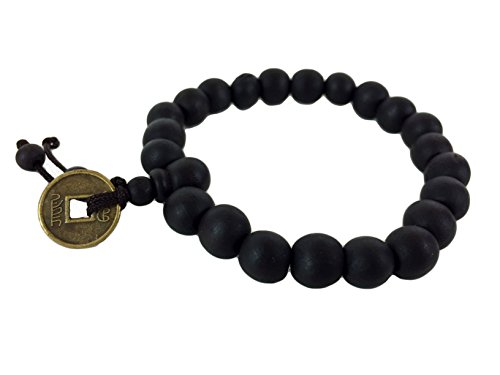 Chinese Bracelet Coin (Dark Wood Buddhist Energy Mala Beaded Stretch Bracelet With Chinese Coin)