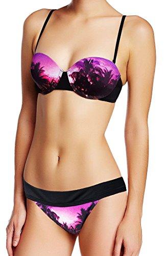 Roxy 2 Piece Bikini Set - Midnight Swim Underwire Top & Cheeky Banded 70s Brief, Black/Purple (Black, S top + S Bottom) (Roxy Hipster)