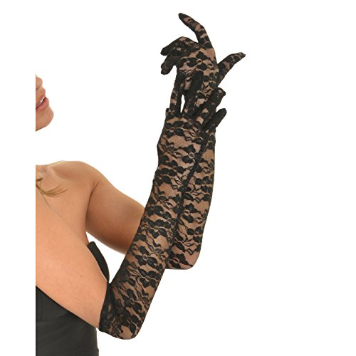 Deceny CB Floral Lace Gloves for Women Long Wedding Gloves Elbow Length Gloves (Black)