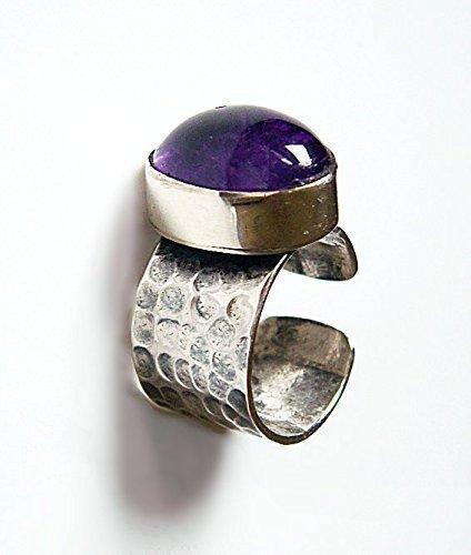 [Sterling Silver Genuine Violet Amethyst Handcrafted Hammered Adjustable Ring] (Handmade Hammered Ring)