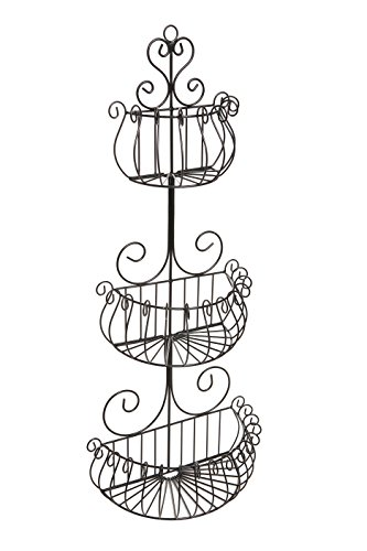 Wall Mounted Scrollwork Design Deluxe 3 Tier Black Iron Frui
