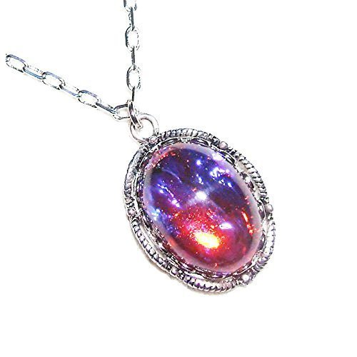 CZECH GLASS MEXICAN FIRE OPAL NECKLACE DRAGONS BREATH SILVER PLTD PENDANT AND CHAIN (Opal Fire Pendant Necklace)