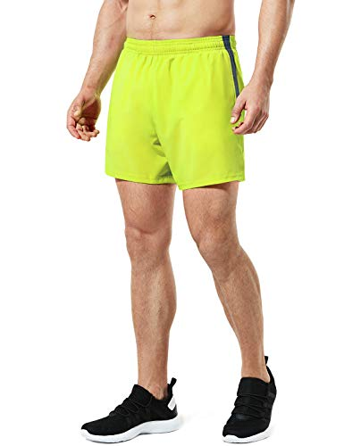 TSLA Men's 5 inches Zipped Pocket Lightweight Running Shorts Pace Jogging Mesh Lined, Paceshorts 5inch(mbh25) - Neon Yellow, Medium