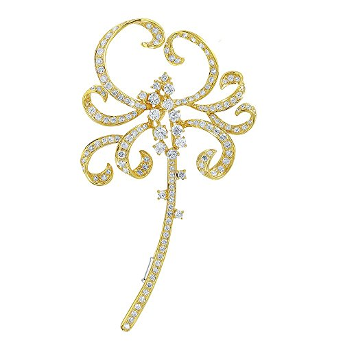 18K Yellow Gold Round Brooch (3.18 ctw, K Color, I2 ()