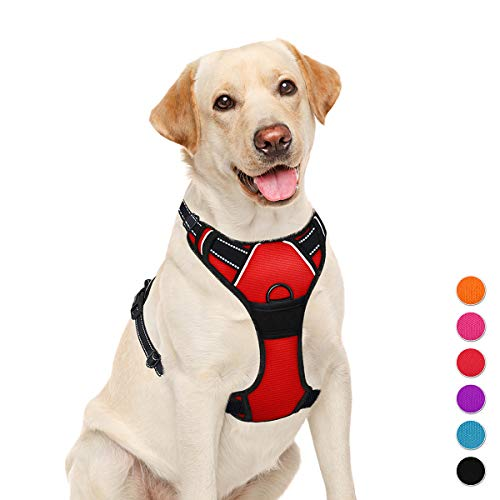 BARKBAY No Pull Dog Harness Large Step in Reflective Dog Harness with Front Clip and Easy Control Handle for Walking Training Running(Red,L)