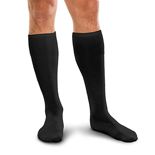 Core-Spun 30-40mmHg Firm Graduated Compression Support Knee High Socks (Black, Large) by Core-spun (Image #1)