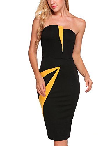 Colorblock Bandage - Jeere Women's Sexy Strapless Colorblock Bandage Party Bodycon Midi Dress Black L