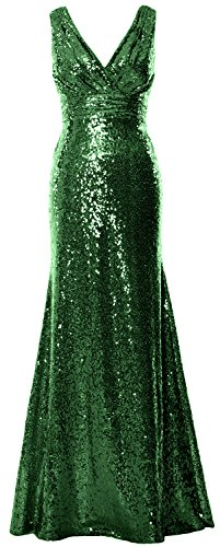 Formal Bridesmaid Women MACloth Gown Green Maxi Evening V Dark Neck Sequin Party Gown U6Wn1WzqR