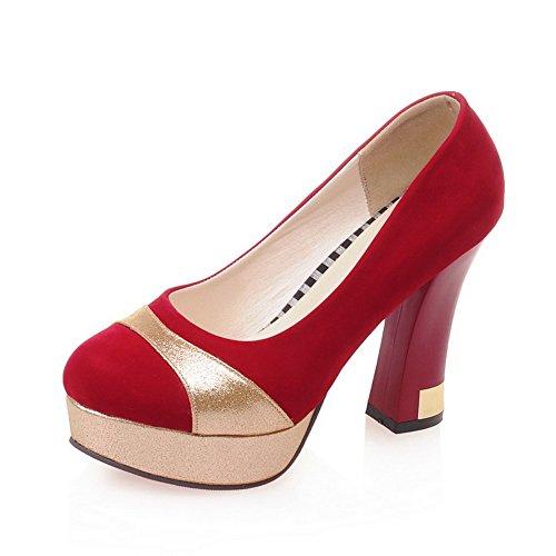 Balamasa Ladies Color Matching Tacco Fondo Spesso Tomaia Bassa Imita Pumps-shoes In Pelle Rossa