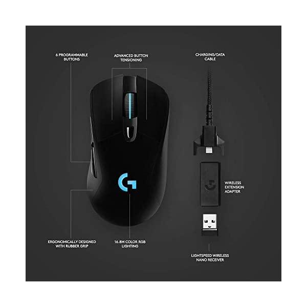Logitech G703 Lightspeed Wireless Gaming Mouse W/Hero 16K Sensor, PowerPlay Compatible, Lightsync RGB, Lightweight 95G…