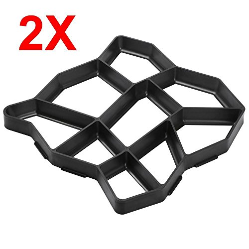 (go2buy 2 Pack Plastic Pathmate Walk Way Paver Concrete Stone Mould Paving Mold Black )