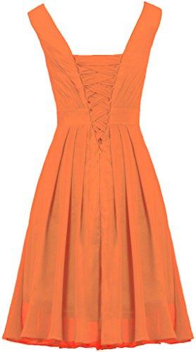 Mousseline De Demoiselle D'honneur Bretelles De Fourmis Femmes Robe Robes Courte Soirée De L'orange