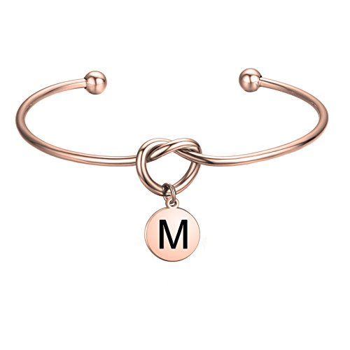 FEELMEM Initial Bracelet Letter Bracelet-Simple Love Knot with Initial Charm Bangle Bracelet-Bridesmaid Gift-Love Knot Bangle Stretch Bracelet Gift for Women-Bridesmaid Jewelry(Initial Letter M) (The Best Way To Propose To Your Girlfriend)
